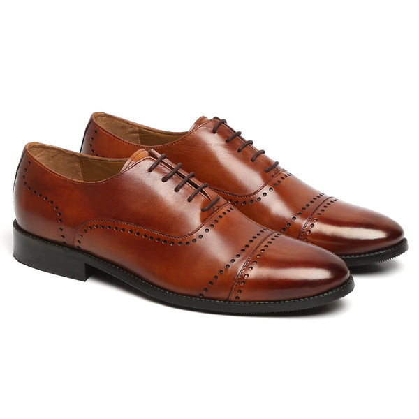 TAN PUNCHING DESIGN LEATHER FORMAL OXFORDS BY BRUNE