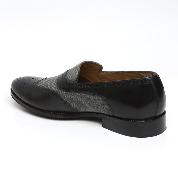 GREY JUTE BLACK LEATHER SASSY SLIP-ONS BY BRUNE
