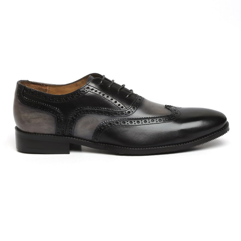CHIC DUAL TONE GREY BLACK LEATHER FORMAL OXFORDS BY BRUNE