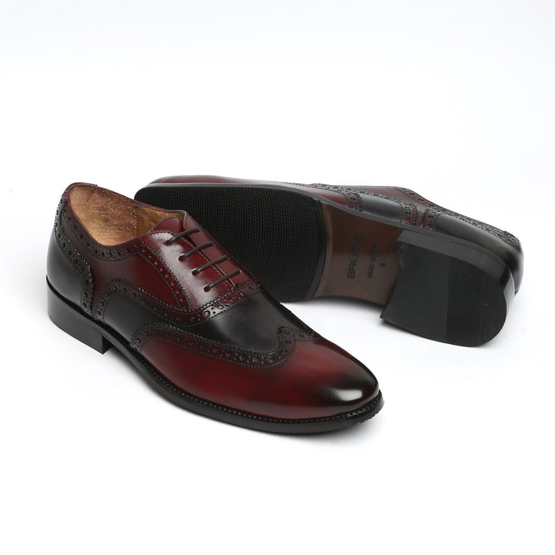 CHIC DUAL TONE WINE BLACK LEATHER FORMAL OXFORDS BY BRUNE