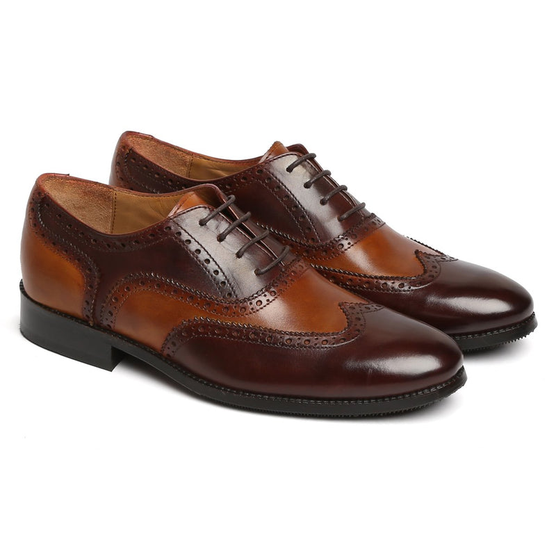Chic Dual Tone Tan Brown Leather Formal Oxfords By Brune