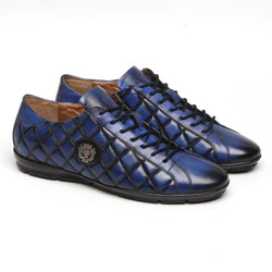 Blue Diamond Stitched Metal Lion Leather Sneakers By Bareskin