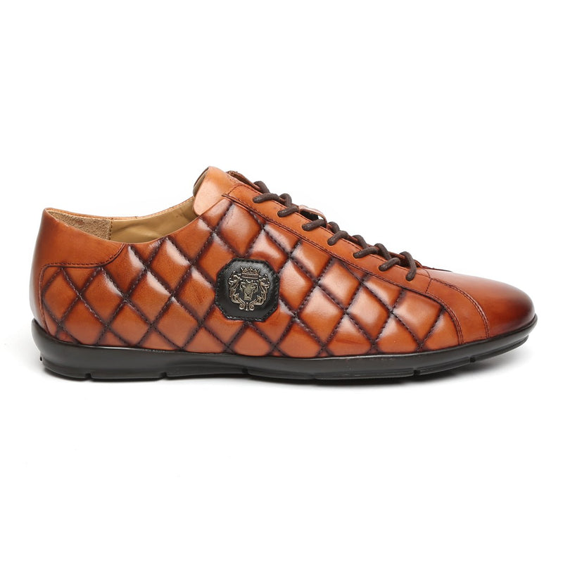 TAN DIAMOND STITCHED METAL LION LEATHER SNEAKERS BY BARESKIN