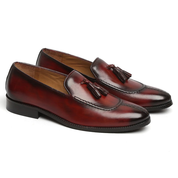 Wine Mod Look Split Toe Leather Slip-On By BRUNE