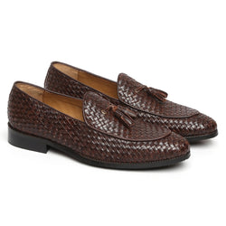 DARK BROWN HAND WEAVED APRON TOE TASSEL SLIP-ON SHOE BY BRUNE