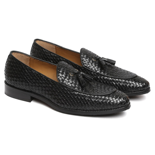 BLACK HAND WEAVED APRON TOE TASSEL SLIP-ON SHOE BY BRUNE