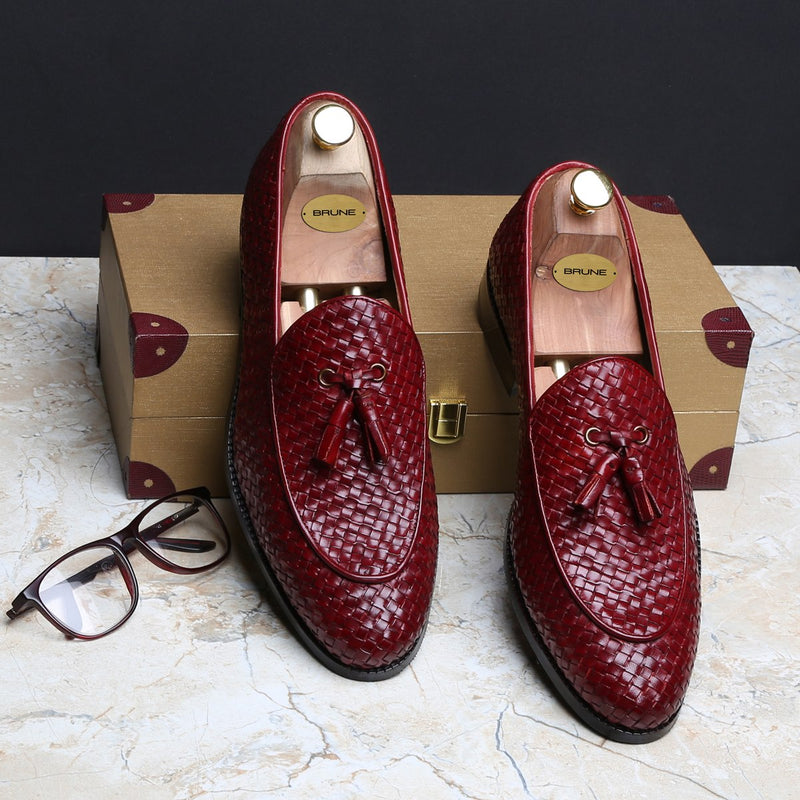 WINE HAND WEAVED APRON TOE TASSEL SLIP-ON SHOE BY BRUNE