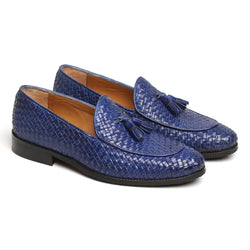 BLUE HAND WEAVED APRON TOE TASSEL SLIP-ON SHOE BY BRUNE