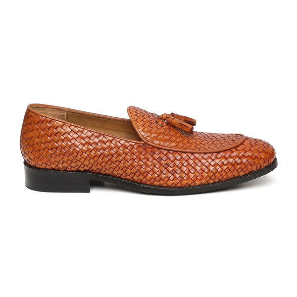 TAN HAND WEAVED APRON TOE TASSEL SLIP-ON SHOE BY BRUNE