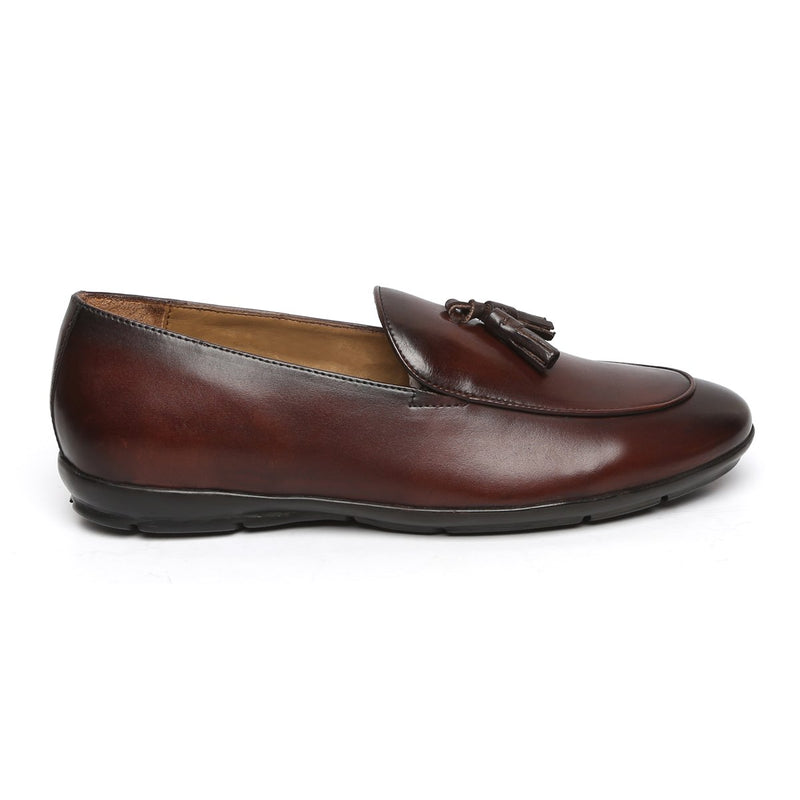 Brown Tassel Leather Slip-On With Super Comfy Sole By BARESKIN