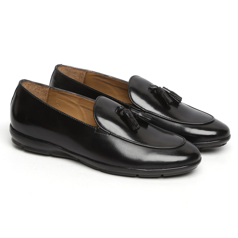 BLACK TASSEL LEATHER SLIP-ON WITH SUPER COMFY SOLE BY BARESKIN