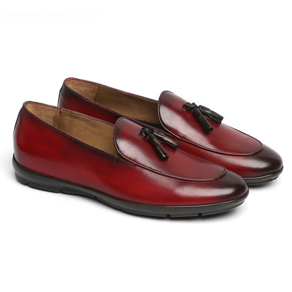 Wine Tassel Leather Slip-On With Super Comfy Sole By BARESKIN