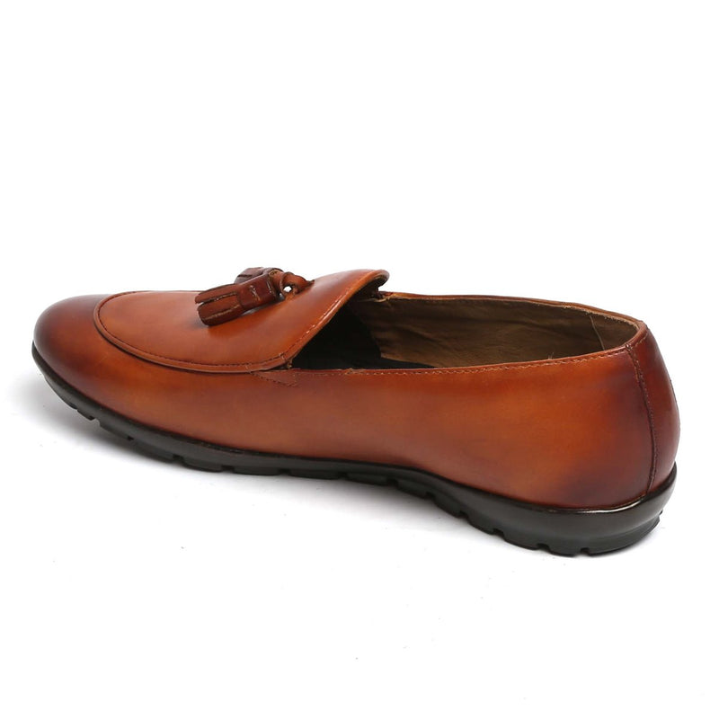 Tan Tassel Leather Slip-on with Super Comfy Sole by BARESKIN