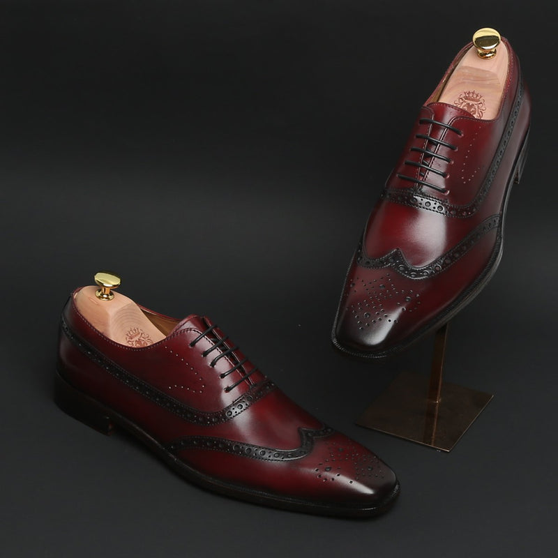 WINE LONG TAIL BROGUE LEATHER SHOES BY BRUNE