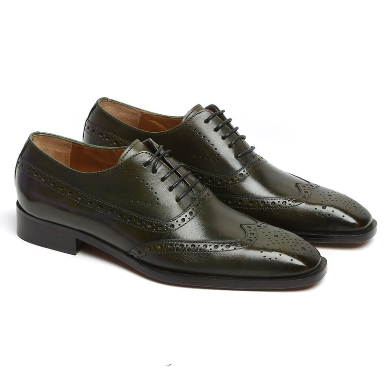 Olive Long Tail Brogue Leather Shoes By BRUNE
