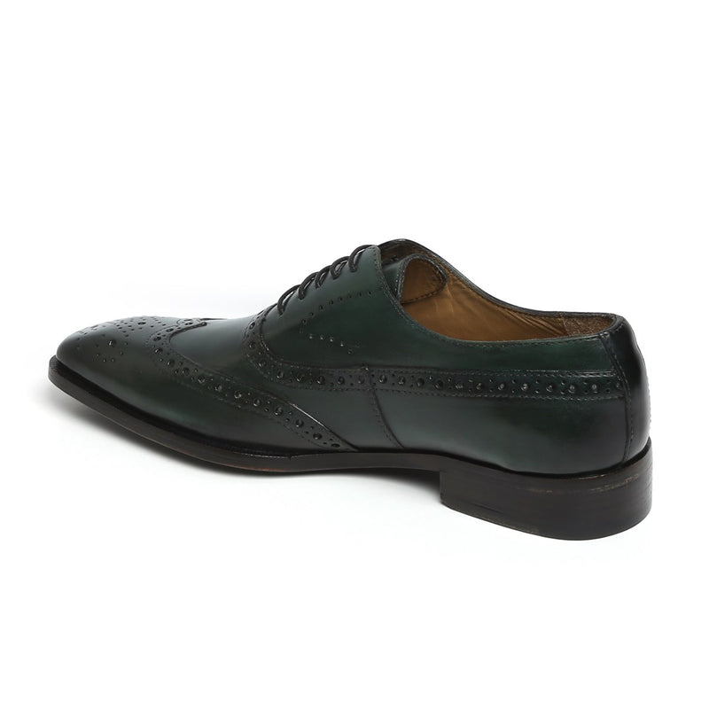 GREEN LONG TAIL BROGUE LEATHER SHOES BY BRUNE
