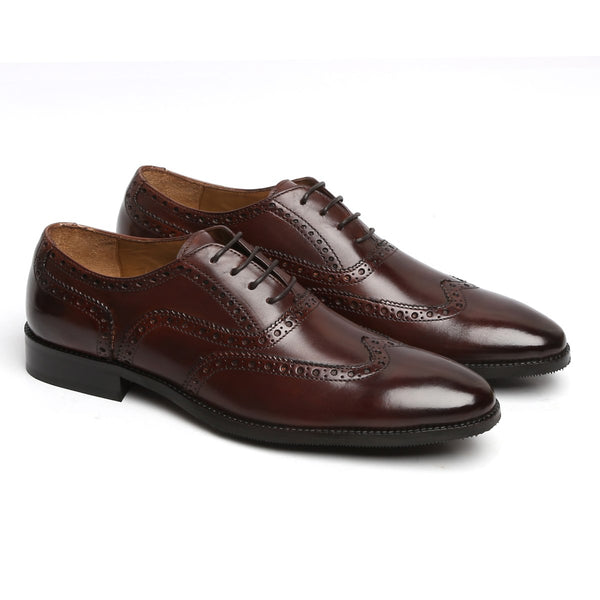 BROWN FULL WINGTIP BROGUE LEATHER OXFORDS SHOE BY BRUNE