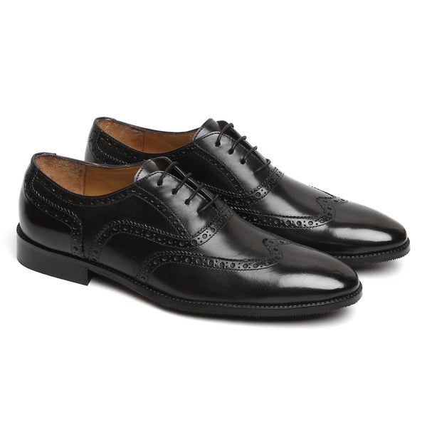 BLACK FULL WINGTIP BROGUE LEATHER OXFORDS SHOE BY BRUNE