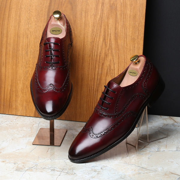 WINE FULL WINGTIP BROGUE LEATHER OXFORDS SHOE BY BRUNE