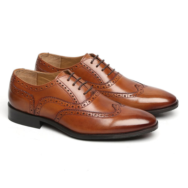 TAN FULL WINGTIP BROGUE LEATHER OXFORDS SHOE BY BRUNE