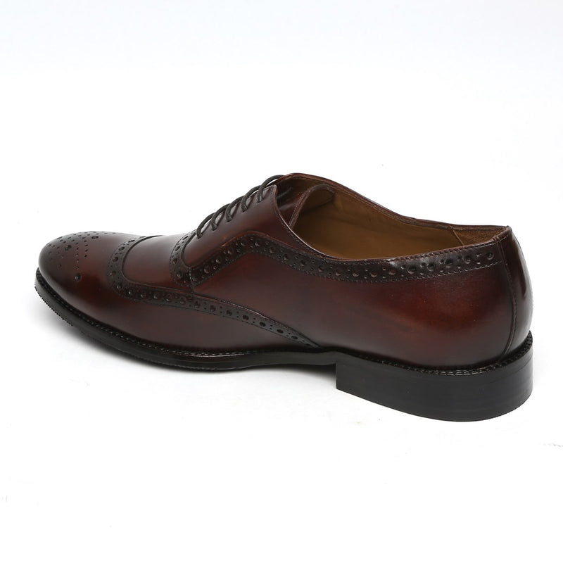 BROWN MOD QUARTER BROGUE LEATHER OXFORDS SHOES BY BRUNE