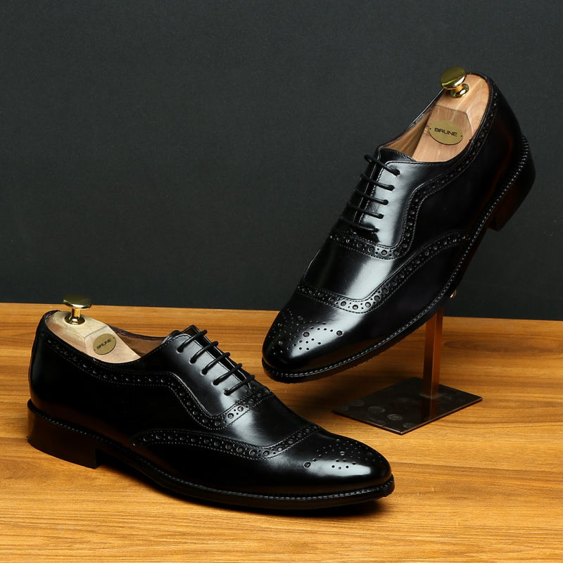 BLACK MOD QUARTER BROGUE LEATHER OXFORDS SHOES BY BRUNE