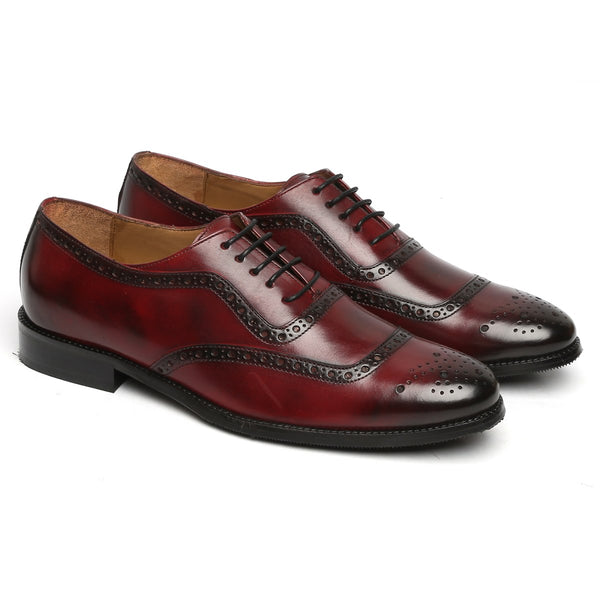 WINE MOD QUARTER BROGUE LEATHER OXFORDS SHOES BY BRUNE