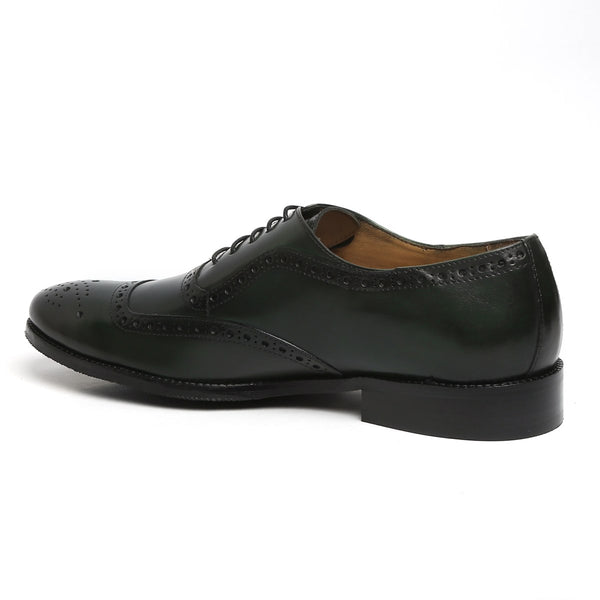 GREEN MOD QUARTER BROGUE LEATHER OXFORDS SHOES BY BRUNE