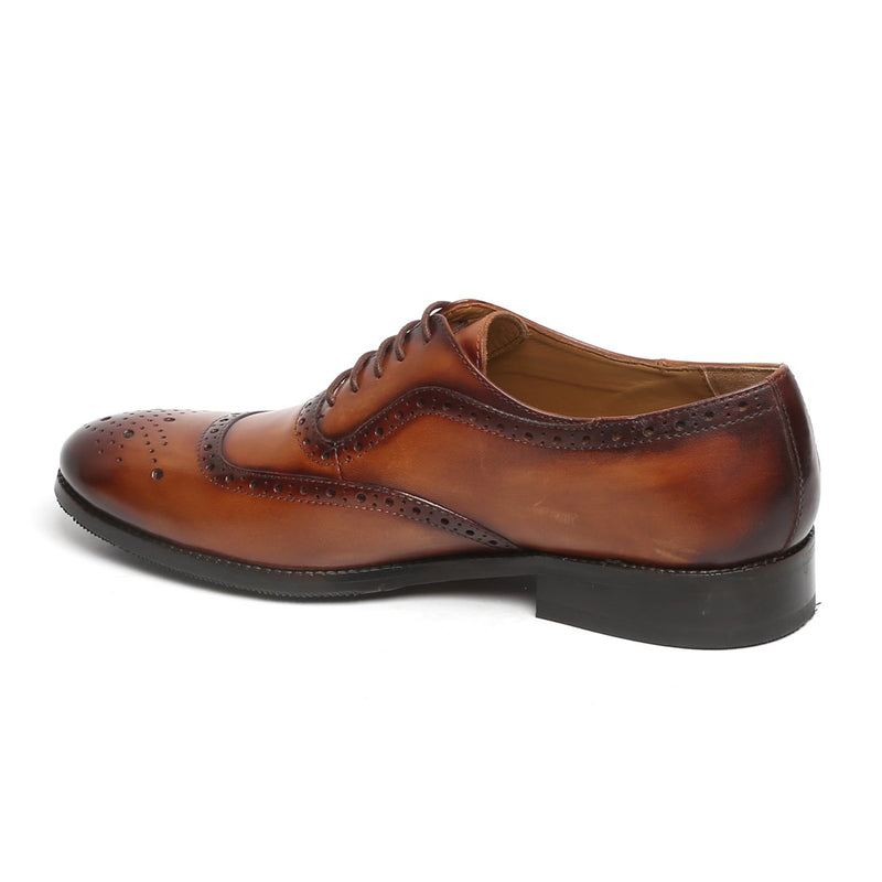 TAN MOD QUARTER BROGUE LEATHER OXFORDS SHOES BY BRUNE