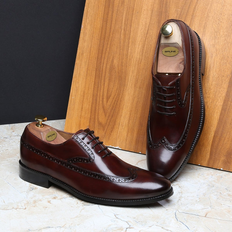 BROWN LONG TAIL DESIGNER BROGUE LEATHER SHOES BY BRUNE