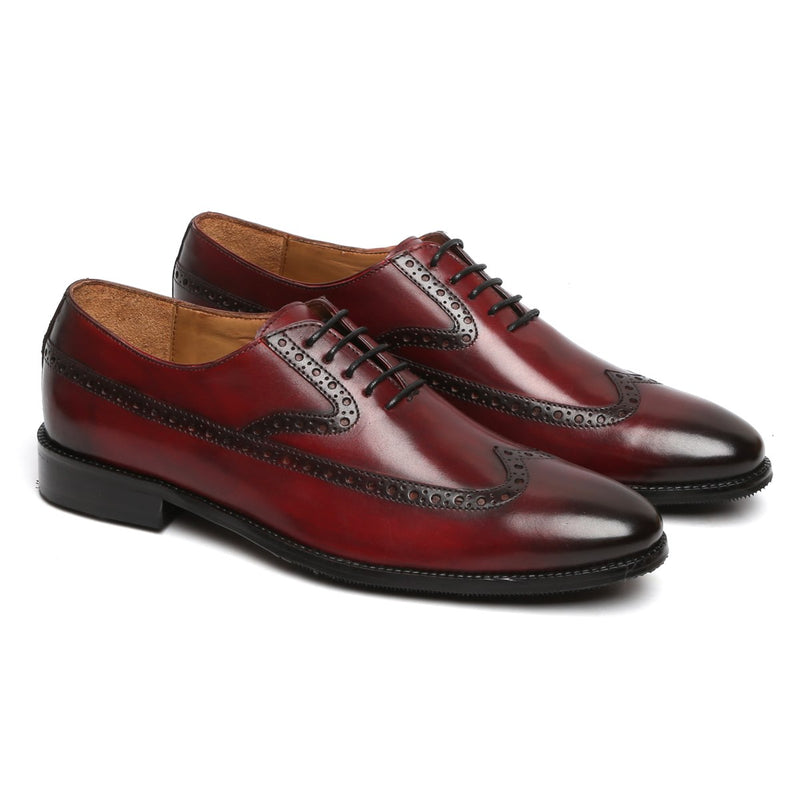 WINE LONG TAIL DESIGNER BROGUE LEATHER SHOES BY BRUNE