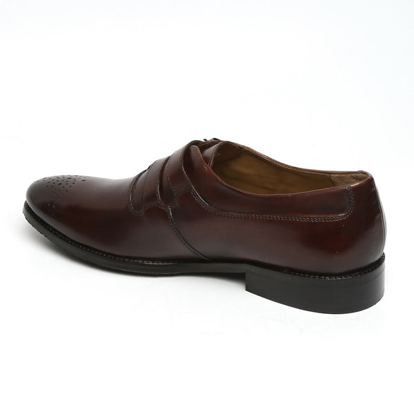 BROWN PARALLEL DOUBLE MONK STRAPS LEATHER FORMAL SHOES BY BRUNE