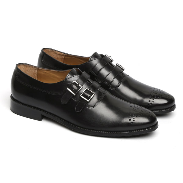 BLACK PARALLEL DOUBLE MONK STRAPS LEATHER FORMAL SHOES BY BRUNE