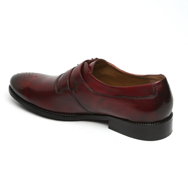 WINE PARALLEL DOUBLE MONK STRAPS LEATHER FORMAL SHOES BY BRUNE