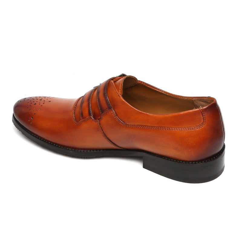 TAN PARALLEL DOUBLE MONK STRAPS LEATHER FORMAL SHOES BY BRUNE