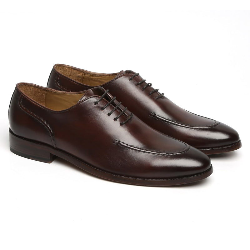 BROWN SLEEK LOOK LACE UP OXFORDS BY BRUNE
