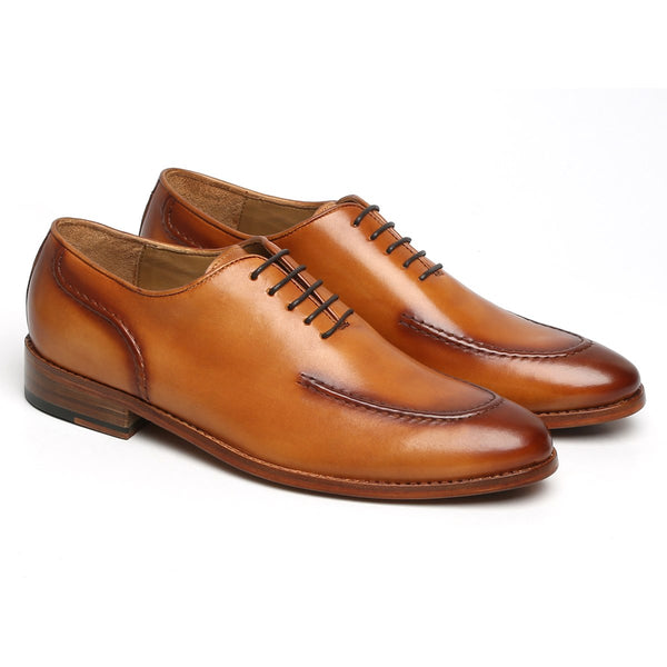 TAN SLEEK LOOK LACE UP OXFORDS BY BRUNE