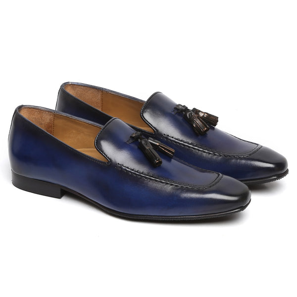 Smoky Blue Tassel Leather Shoes By BRUNE
