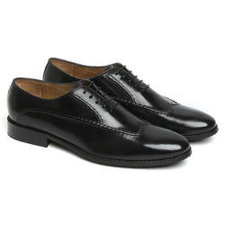 BLACK LONG STITCHED LINES DESIGN LEATHER OXFORDS BY BRUNE