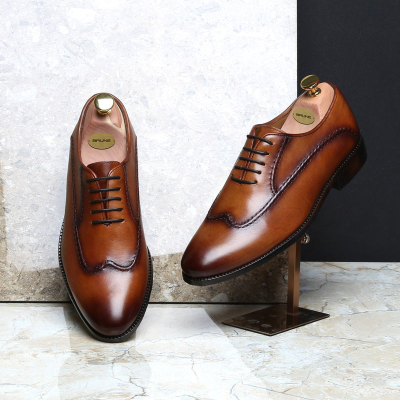 TAN LONG STITCHED LINES DESIGN LEATHER OXFORDS BY BRUNE