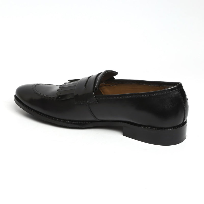 BLACK LEATHER FRINGES APRON TOE FORMAL SLIP-ONS BY BRUNE