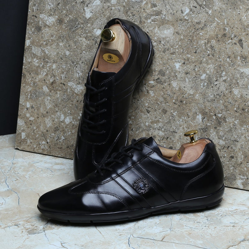 Black Leather Stripes Design Lion Metal Logo Sneakers By Bareskin