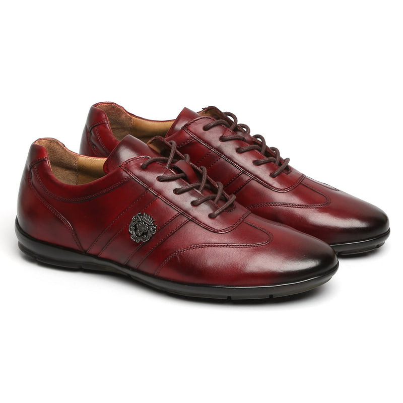 Wine Leather Stripes Design Lion Metal Logo Sneakers By Bareskin