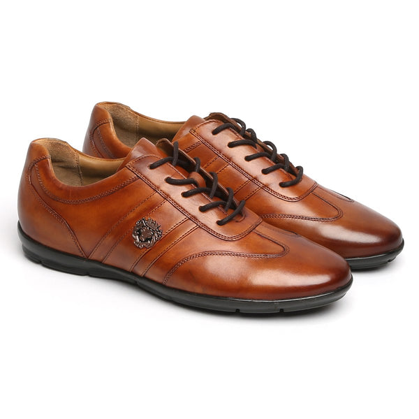 Tan Leather Stripes Design Lion Metal Logo Sneakers By Bareskin