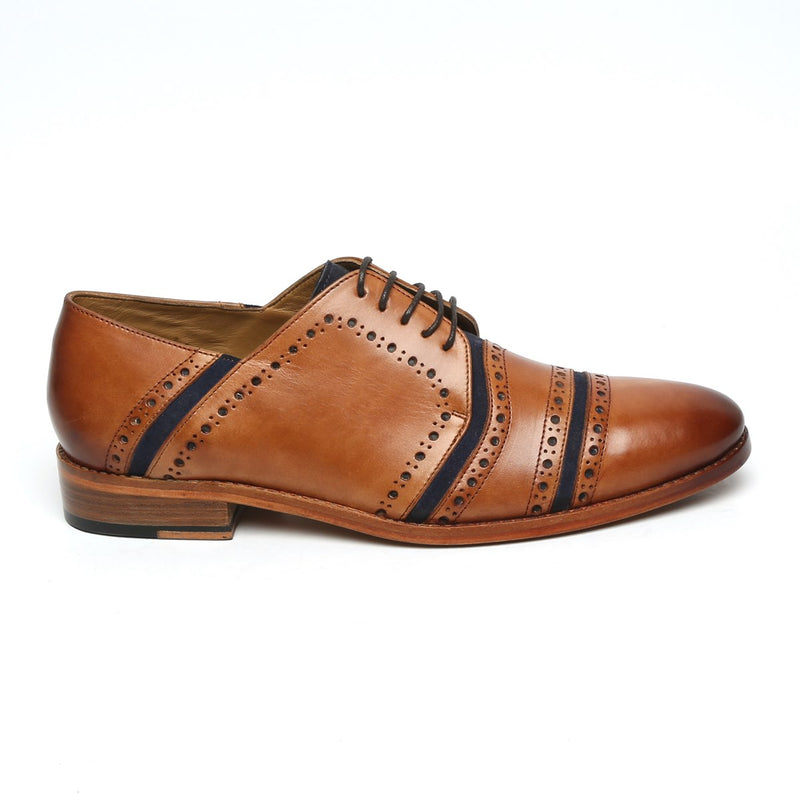 BLUE SUEDE TAN LEATHER BROGUE SHOES BY BRUNE