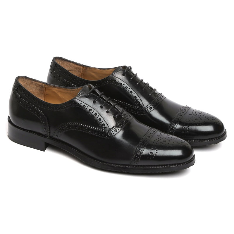 BLACK FULL BROGUE CAP TOE LEATHER OXFORDS BY BRUNE