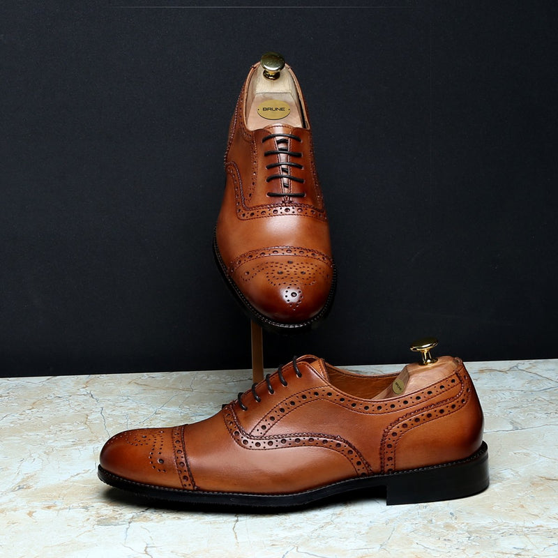 TAN FULL BROGUE CAP TOE LEATHER OXFORDS BY BRUNE