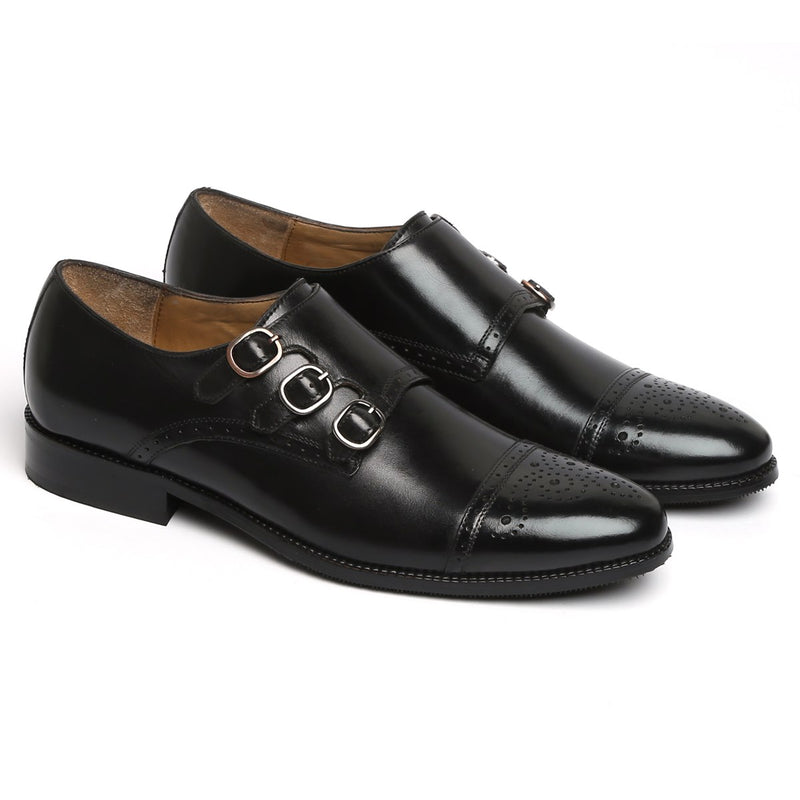 TRIPLE MONK STRAP MEDALLION TOE LEATHER SHOES BY BRUNE