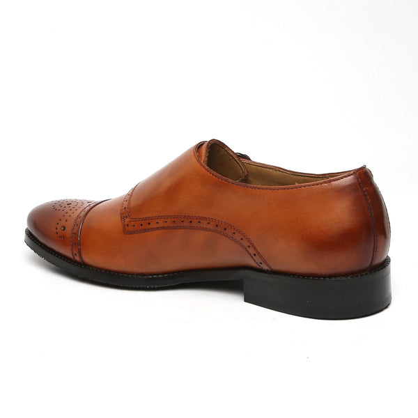 TAN TRIPLE MONK STRAP MEDALLION TOE LEATHER SHOES BY BRUNE