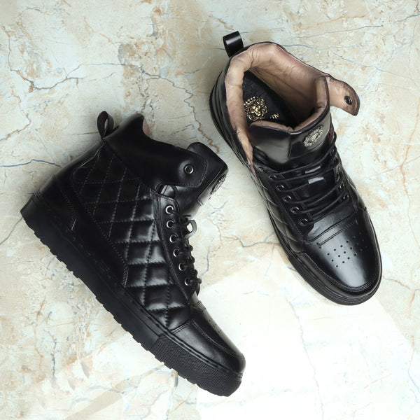 Black Diamond Stitched Design High Ankle Leather Sneakers By BARESKIN